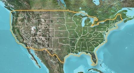 TOPO US map
