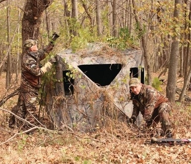 ground blind in the wood